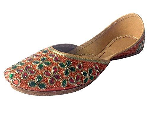 Étape N Style Chaussures de travail fait main Khussa Kundan pour femme panjabi jutti ethnique mojari Chaussures plates Orange Multi