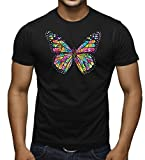 Men's Neon Stained Glass Butterfly Tee Black T-Shirt Large Black
