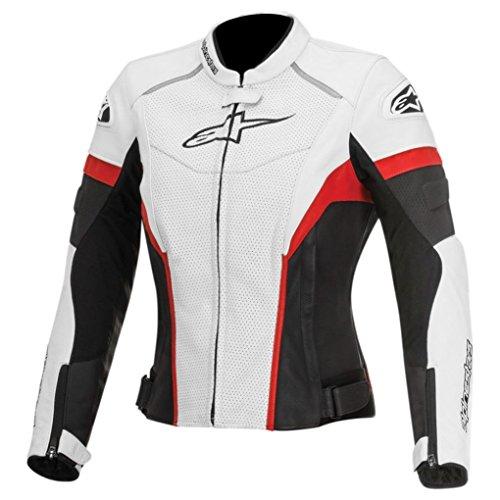 Alpinestars Stella GP Plus R Women's Perforated Leather Riding Jacket,White/Black/Red, 48