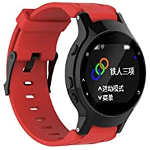 For Garmin Forerunner 225, Kingfansion Silicone Replacement Wrist Watch Band + Case Cover (Red)
