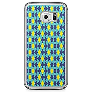 Samsung Galaxy S6 Edge Transparent Edge Phone Case Arabic Pattern Phone Case Blue Pattern Samsung Galaxy S6 Edge Cover with Transparent Edge