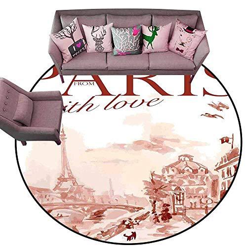 Floor Mat Kitchen Long Carpet Paris Decor,Vintage Watercolor Style Paris Illustration with Tour DEiffel and Old Streets Artistic Image,Pink Diameter 78