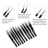 PIXNOR 10pcs Tweezers Precision ESD Anti-Static Stainless Steel Tweezers Kit with Bag for Electronics, Jewelry-Making, Laboratory Work, Blackhead Remover