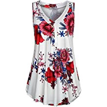 Cestyle Womens Sleeveless V Neck Shirts Pleated Front Flowy Tank Tops