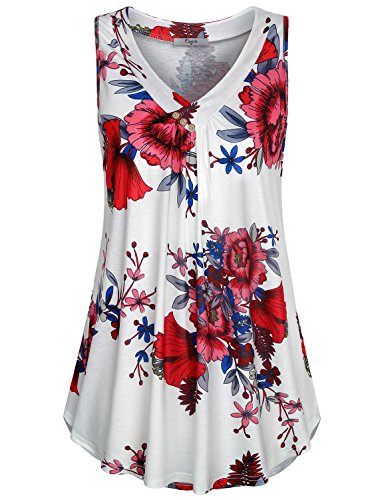 (Cestyle Flower Tank Tops for Women,Misses Simple Elegant Sleeveless Babydoll Shirts Spring Floral Print Trapeze Hem Tunic White Flower X-Large)