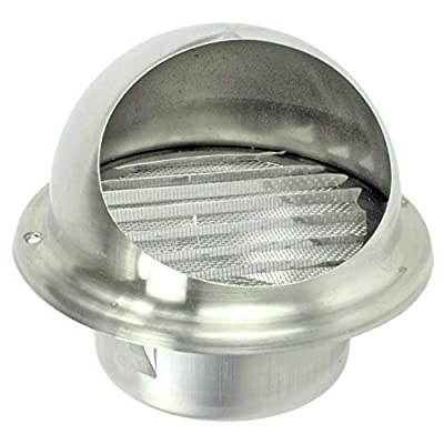 """Spares2go Stainless Steel Round Bull Nosed External Extractor Wall Vent Outlet with Insect Mesh Grille (100mm, 4"""")"""