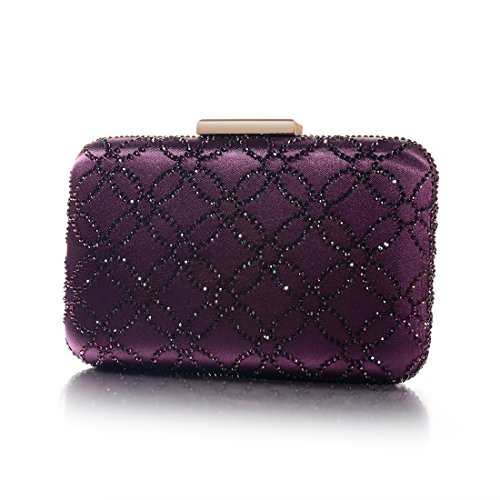 Satin Clutch DMIX Purple and Crystal Womens Hard Evening Large Handbags Silk Bag PFXxErXq