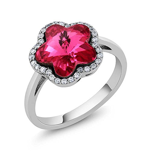 Sterling Silver Pink Flower Women's Ring Made with Swarovski Crystals ()