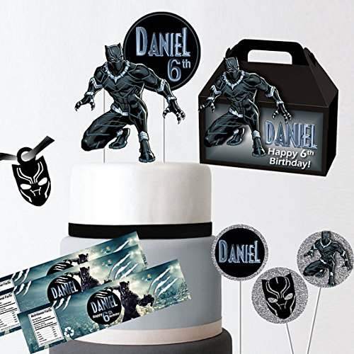 Black Panther Party Kit Supply Favor Boxes cupcake toppers cake topper custom black panther mask water labels adhesive -