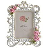 Giftgarden White Picture Frame 5x7 Family Photo Frames Roses Decor for Birthday Gifts, Mother Gifts