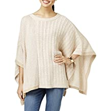 Two by Vince Camuto Womens Cable Knit Colorblock Poncho Sweater