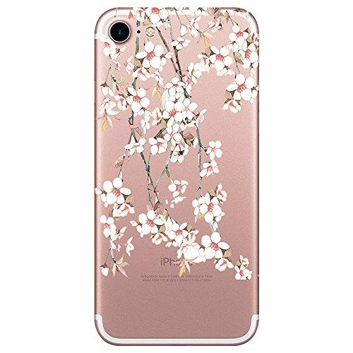 AIsoar iPhone 8 Case, iPhone 7 Case, Clear Design Slim Fit Soft Ultra-Thin TPU Bumper Transparent Scratch Resistant No-Slip Protective pineapple design Case for iPhone 8 iPhone 7 (Cherry ()