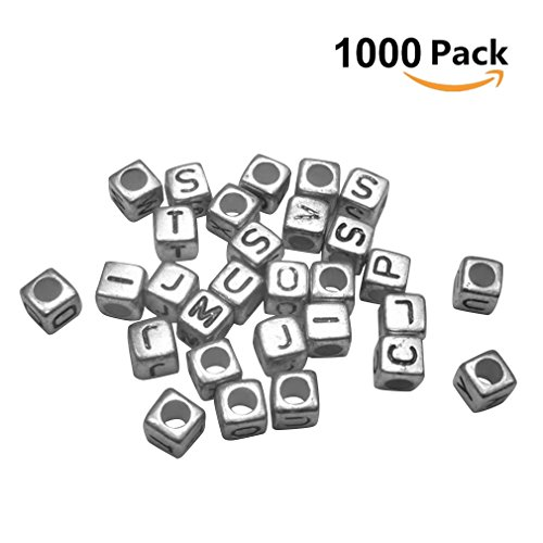 Beads Silver Metal Letter (AIYUE 1000 Pcs Beads with A-Z Alphabet for Jewelry Making for Kids DIY Bracelets, Necklaces,Key Chains (6mm) (Cube))