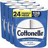 Cottonelle Ultra CleanCare Soft Toilet Paper with Active Cleaning Ripples, 24 Family Mega Rolls, Strong Bath T
