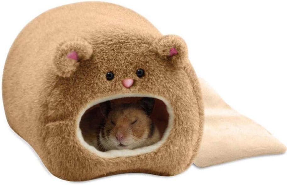 Alarmclocker8B Lindo ratón Hamster Invierno cálido Lana Jaula Colgante Hamaca Linda casa con colchón pequeños Animales Peludos 2020 Dropshipping-Chocolate