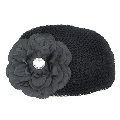 Voberry Toddler Infant Baby Girl's Crochet Beanie Hat Knitted Cap with Peony Flower (Black) (Crochet Peony Black)