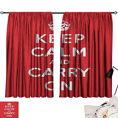 (Room Darkening Wide Curtains Keep Calm,Red and White Composition with Keep Calm and Carry On Text and a Royal UK Crown, Red White 54