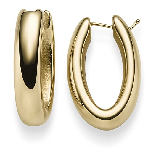 Paire de Boucle d'oreilles créoles 27,5x 6,5mm Boucles d'oreilles Bijoux en or jaune 585brillant facile
