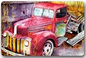 """Granja Abandonada camión puerta esteras cubierta antideslizante lavable a máquina interior y exterior para cuarto de baño decoración de la cocina alfombra 'Bienvenido' Felpudo–23,6(L) X 15,7(W), 3/16""""de grosor"""