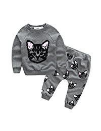 YANG-YI Baby Kids Set Clothes Long Sleeve Cats Print Tracksuit +Pants White