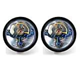Dich Creat Men's Stainless Steel Blue PVD Tourbillon Movement Cufflinks With Mother Of Pearl Back