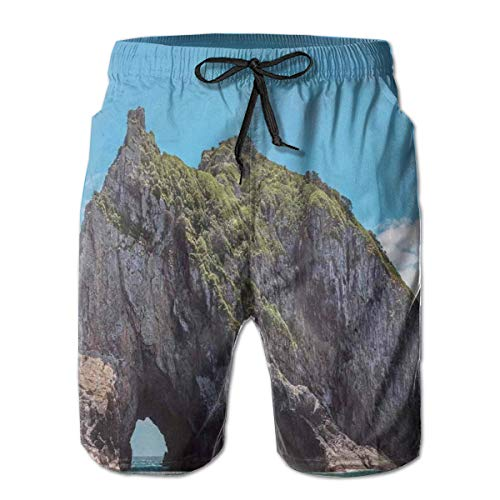 Men Swim Trunks Beach Shorts,Famous Elephant Shape Rock with The Grand Hole in Bay of Islands Nz Cavern Peaceful XXL