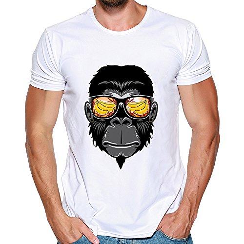 Men Tee Shirt Short Sleeve t-Shirt Blouse Printing Orangutan Banana o-Neck Casual Cool Novelty Tops (White, XL)