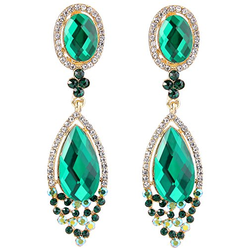 BriLove Women's Wedding Bridal Clip-On Dangle Earrings with Infinity Figure 8 Crystal Teardrop Chandelier Emerald Color Gold-Toned