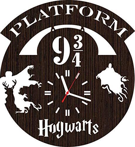 Wooden Wall Clock Harry Potter Gifts for Adults Men Women him her mom dad Boys Girls Kids Fans Birthday Platform 9 3 4 Bedroom Kitchen Decor Merchandise Stuff Party Wedding Vinyl