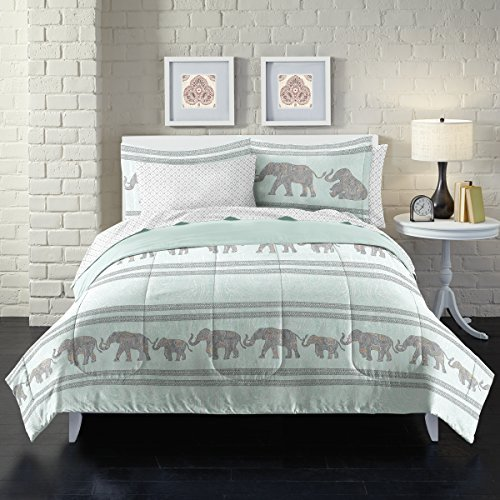 Loft Style Boho Elephant Ultra Soft Microfiber Comforter Set, Full, Light Blue