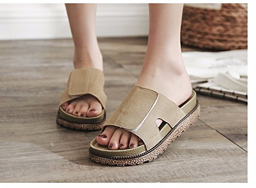 LIUXINDA women's Slippers summer summer Brown seaside slippers shoes muffins XZ Summer beach fashion and cool tide crFWwH4qr