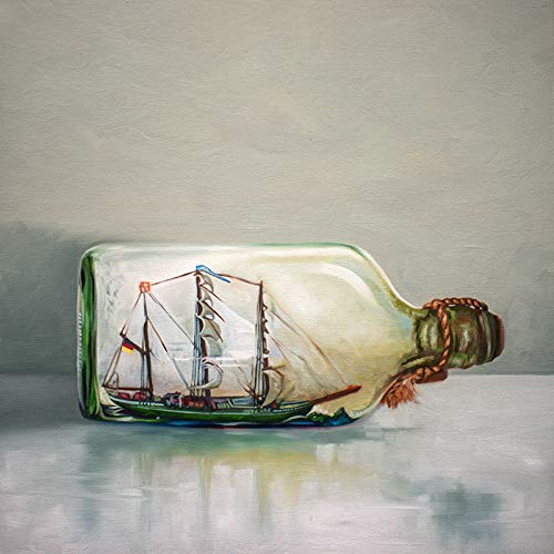 Ship in a Bottle - Artist Signed Original Oil Painting Handmade Modern Home Wall Art Decor - Direct from the Artist, 12
