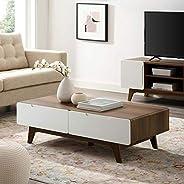 "Modway Origin 47"" Mid-Century Modern Wood Coffee Table In Walnut"