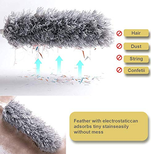 【Upgrade】100 inch Microfiber Duster with Extension Pole, Scratch-Resistant Cover, Lint Free Bendable, Washable, Duster for Cleaning Ceiling Fan, High Ceiling, Keyboard, Furniture & Cobweb