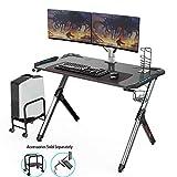 Eureka Ergonomic Gaming Desk RGB, R1-S Computer Desk Ergonomic Computer Gaming Office PC Desks, Sturdy Aluminum Alloy Table Legs with Cup Holder Headphone Hook & Free Mousepad - Black