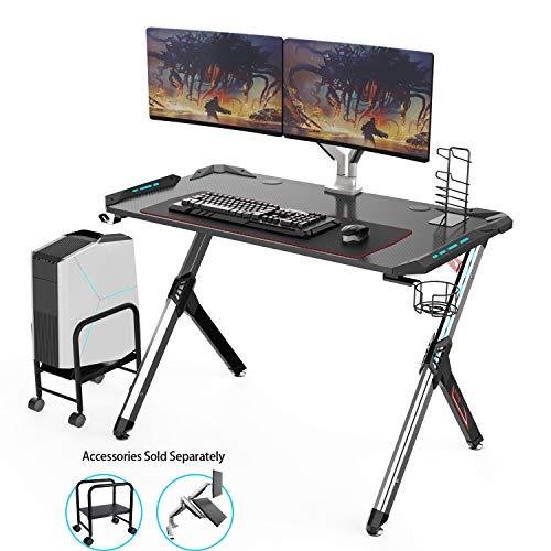 Eureka Ergonomic Gaming Desk RGB, R1-S Computer Desk Ergonomic Computer Gaming Office PC Desks, Sturdy Aluminum Alloy Table Legs with Cup Holder Headphone Hook - Black