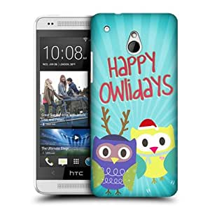 DIY Case Designs Owlidays Blue Owl Xmas Protective Snap-on Hard Back Case Cover for HTC One mini by ruishername