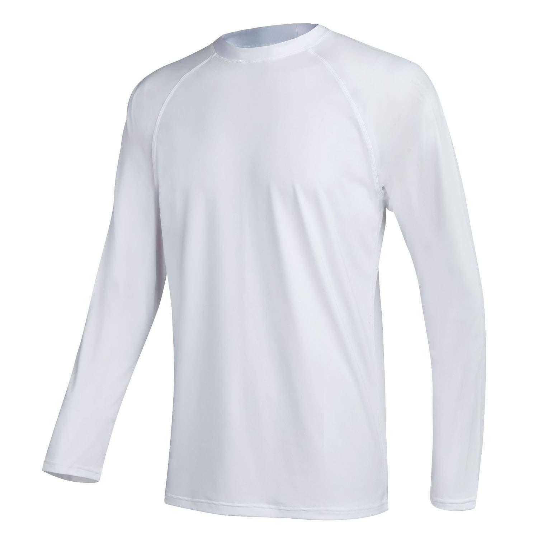 QPNGRP Mens UPF 50+ UV Sun Protection Long Sleeve Rash Guard Swim Shirt White Medium