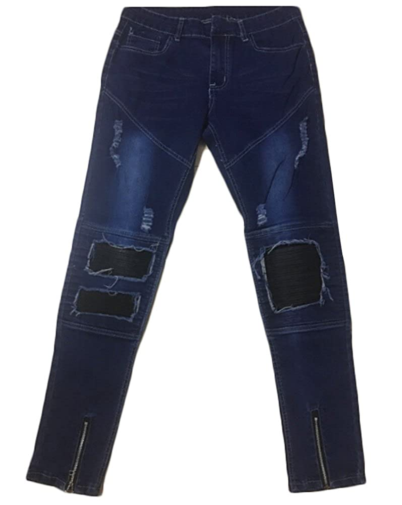 Mens Ripped Slim Straight Fit Biker Jeans with Zipper