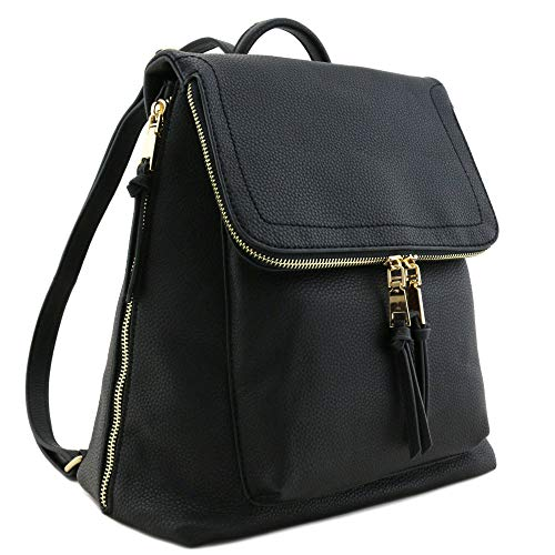 - Faux Leather Zip Flapover Backpack Black