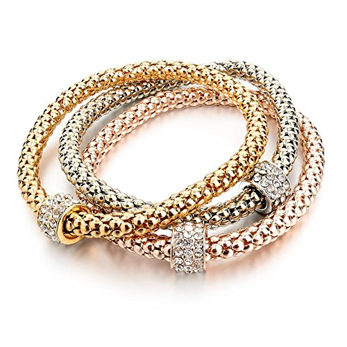 Long Way 3pcs Gold Silver Plated Charm Bracelet for Women Luxury Multilayer Bracelet