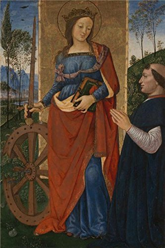 - 'Pintoricchio-Saint Catherine Of Alexandria With A Donor,1480-1500' Oil Painting, 10x15 Inch / 25x38 Cm ,printed On High Quality Polyster Canvas ,this High Definition Art Decorative Canvas Prints Is Perfectly Suitalbe For Dining Room Gallery Art And Home Decor And Gifts