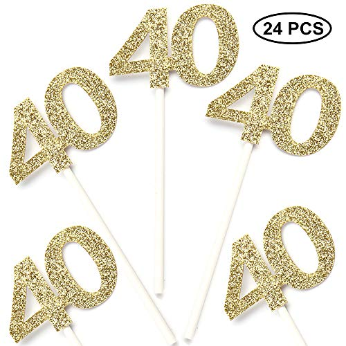 24 PCS 40th Cupcake Toppers - Anniversary or Birthday Cupcake Picks Party Decoration | Gold 40th (40 Birthday Cup Cake Toppers)