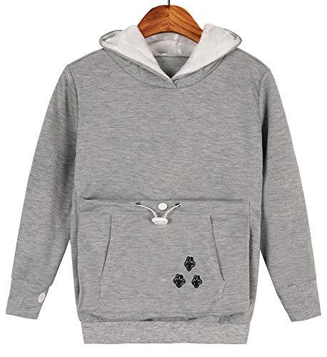 Puppy Kids Sweatshirt - Teen Girls Pet Pouch Hoodies Kitten Puppy Holder Kangaroo Shirts Sweatshirt Top Light Grey M