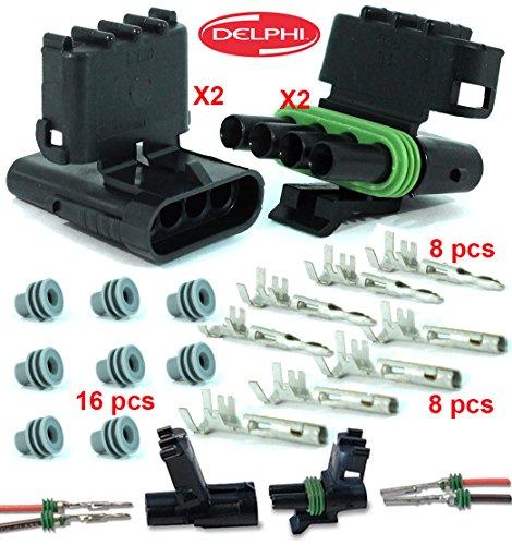 Delphi Packard 2 Completed Set (4 Circuits) Weatherpack, Waterproof, Terminal Kit 14, 16 AWG