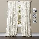 "Lush Decor Lush Décor Avon Single Window Curtain Panel, 95"" x 54"", White"