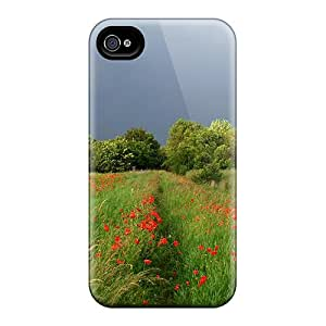 Special SKTrahan Skin Case Cover For Iphone 4/4s, Popular Poppy-field-at-the-wind Phone Case