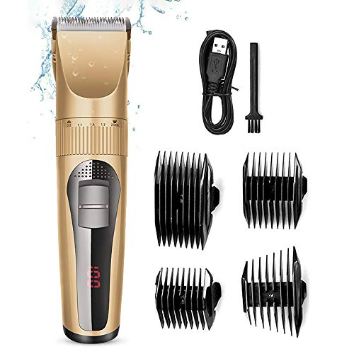 EKUPUZ Mens Beard Hair Clipper Trimmer Universal Digital Display Electric Waterproof Grooming Shaving Kit Head Fader Home Hair Salon Professional Hair Clipper For Adult Children
