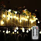 Tomshine 80 LEDs Globe String Lights 32.8Ft Battery Powered IP44 Water Resistance with Remote Control for Party Living Room Bedroom Garden
