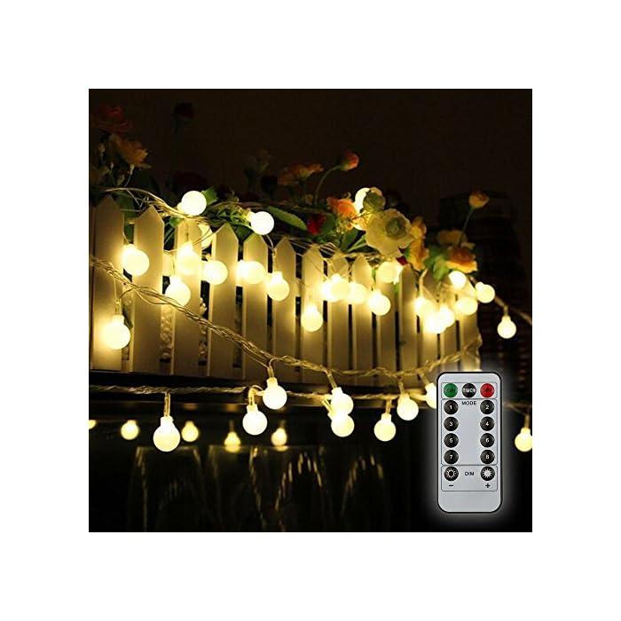 51umHwpDWhL ❤【Diseño Especial de la Forma del Bulbo】: Friegue el bulbo esférico del diseño superficial, el diámetro es solamente 19 mm, Mini luz más suave del tamaño. ❤【Mando a Distancia】: Equipado con un ir de 13 teclas de control remoto, puede cambiar diferentes efectos de iluminación, el ajuste de la hora, ajustar el brillo de la luz. ❤【Ocho Efectos de Iluminación】: Incluyendo la combinación, en onda, secuencial, Slo glo, persiguiendo/Flash, lento se descolora, centelleo/flash, constante encendido, satisfaciendo le varias necesidades y traerle una variedad de disfrute visual.